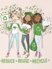 Girls Glitter Reduce Reuse Recycle Graphic Tee