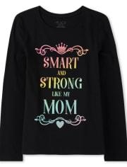 Girls Glitter Mom Graphic Tee