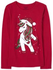 Girls Christmas Dancing Unicorn Graphic Tee