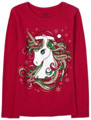 Girls Christmas Glitter Unicorn Graphic Tee