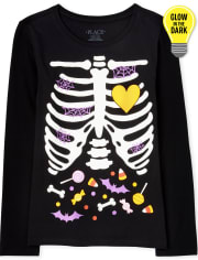 Girls Mommy And Me Halloween Glow Candy Skeleton Matching Graphic Tee