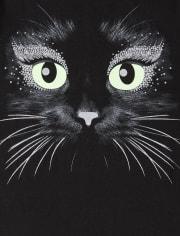 Girls Halloween Glow Cat Graphic Tee
