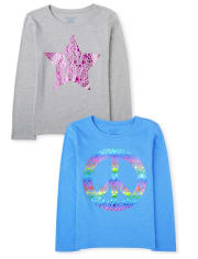 Girls Peace And Star Graphic Tee 2-Pack
