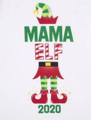 Camiseta con gráfico de duende navideño familiar a juego para mujer