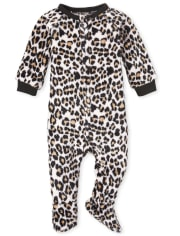 Baby And Toddler Girls Mommy And Me Leopard Fleece Matching One Piece Pajamas