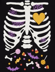 Mommy And Me Halloween Glow Candy Skeleton Camiseta gráfica a juego para mujer