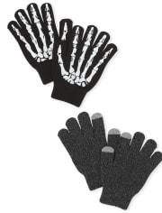 Paquete de 2 guantes de texto esqueleto para niños
