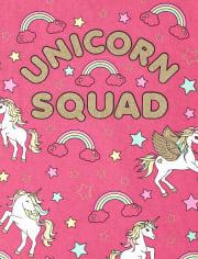 Girls Glitter Unicorn Squad Graphic Tee