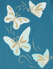 Girls Glitter Butterfly Graphic Tee