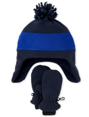 Toddler Boys Colorblock Glacier Fleece Hat And Mittens Set