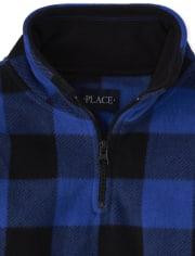 Boys Buffalo Plaid Glacier Fleece Half Zip Pullover