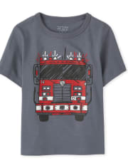 Baby And Toddler Boys Fire Truck Graphic Tee