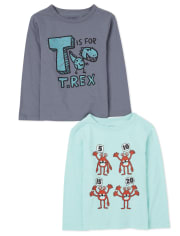 Baby And Toddler Boys Letters And Numbers Graphic Tee 2-Pack