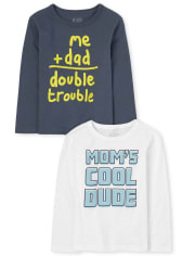 Baby And Toddler Boys Mom And Dad Graphic Tee 2-Pack