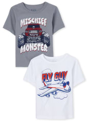 Baby And Toddler Boys Transportation Graphic Tee 2-Pack