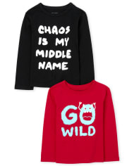 Baby And Toddler Boys Wild Chaos Graphic Tee 2-Pack