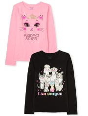 Girls Cats And Dogs Graphic Tee 2-Pack