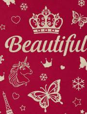 Girls Glitter Beautiful Graphic Tee