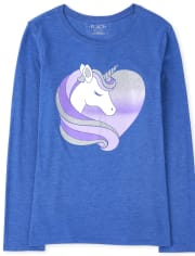 Girls Unicorn Heart Graphic Tee