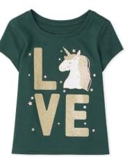 Baby And Toddler Girls Unicorn Love Graphic Tee