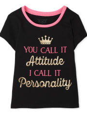 Baby And Toddler Girls Attitude Graphic Tee
