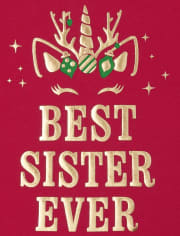 Baby And Toddler Girls Holiday Best Sister Graphic Tee