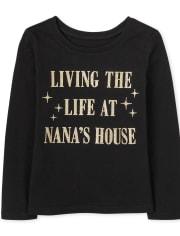 Baby And Toddler Girls Glitter Nana's House Graphic Tee