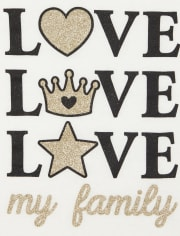 Baby And Toddler Girls Glitter Love My Family Graphic Tee