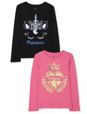 Girls Princess Graphic Tee 2-Pack