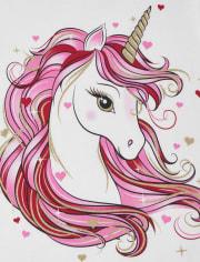Girls Valentine's Day Unicorn Graphic Tee