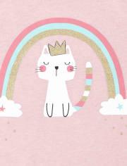Baby And Toddler Girls Rainbow Cat Graphic Tee