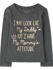 Baby And Toddler Girls Mommy And Daddy Graphic Tee
