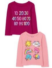 Baby And Toddler Girls Shapes And Numbers Graphic Tee 2-Pack