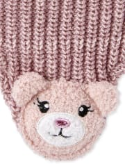 Toddler Girls Critter Hat And Mittens Set