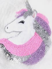Toddler Girls Sequin Unicorn Pom Pom Beanie And Mittens Set
