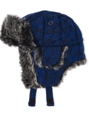 Toddler Boys Cable Knit Trapper Hat