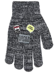 Boys Striped Emoji Texting Gloves 2-Pack