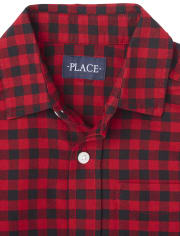 Boys Matching Family Buffalo Plaid Oxford Button Down Shirt