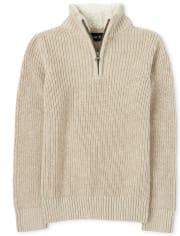 Boys Sherpa Half Zip Mock Neck Sweater
