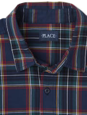 Mens Matching Family Plaid Poplin Button Down Shirt