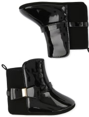 Baby Girls Bow Faux Patent Leather Boots
