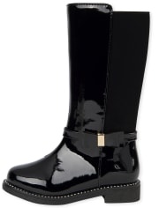 Toddler Girls Bow Faux Patent Leather Tall Boots