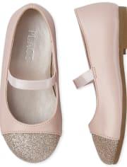 Zapatillas de ballet con puntera brillante para niñas pequeñas