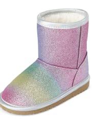 Toddler Girls Glitter Rainbow Boots