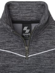 Boys Active Mesh Striped Half Zip Mock Neck Pullover