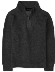 Boys French Terry Half Zip Mock Neck Pullover