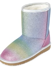 Girls Glitter Rainbow Boots