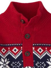 Toddler Boys Fairisle Mock Neck Sweater