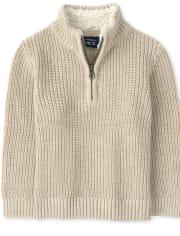 Toddler Boys Sherpa Half Zip Mock Neck Sweater