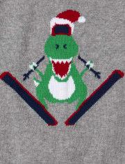 Toddler Boys Ski Dino Intarsia Sweater